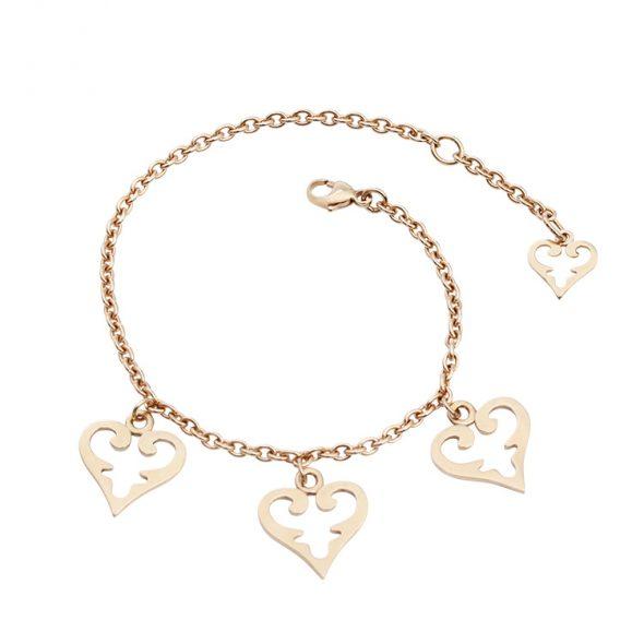 Schönes massives Armband im Signature Design mit 3 mittelgroßen Herzen. Das Ende ist mit einem kleinen Herzen verziert.