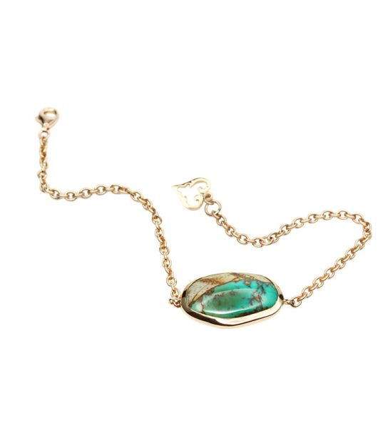 One of a Kind bracelet with turquoise and its matrix in interesting organic shape, hand set in Rosegold 18k.