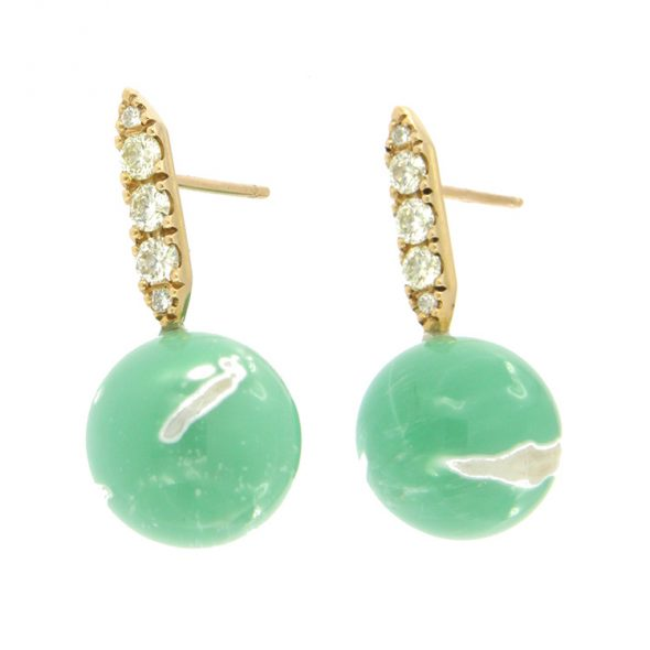 Beautiful earrings with Diamonds and Variscits in a wonderful Sea Green.