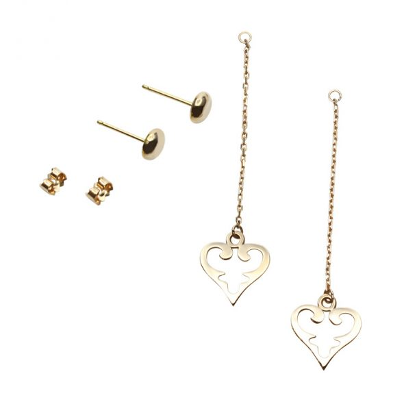"Long earring, medium size ""Oriental Hearts"" pending on a chain. A young Look. Two piece set."
