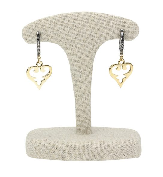 "Blackened silver with black diamonds on the hoops and Yellow Gold with the hearts in my Signature Design ""Oriental Hearts""."