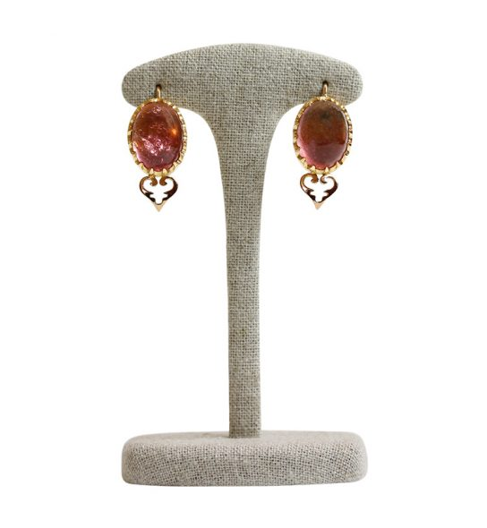 Fully handmade Earrings with lovely Tourmalines Cabochons with a lot of lively inclusionsin an ornate setting, all is filed individually. Very special, One of a Kind.