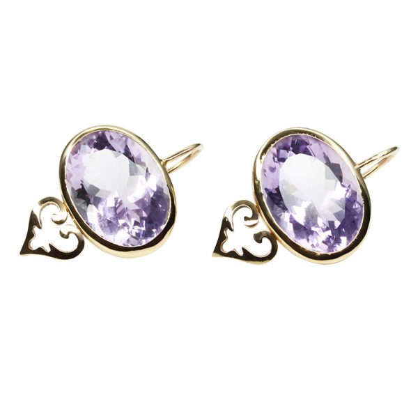 "Handmade Earrings with beautiful rose colored Amethysts and a pair of small ""Oriental Hearts"" in my Signature Design. Stunning for day and night."