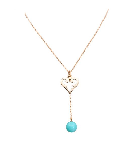 Modern and young Collier with the medium Oriental Heart and Amazonite sphere.