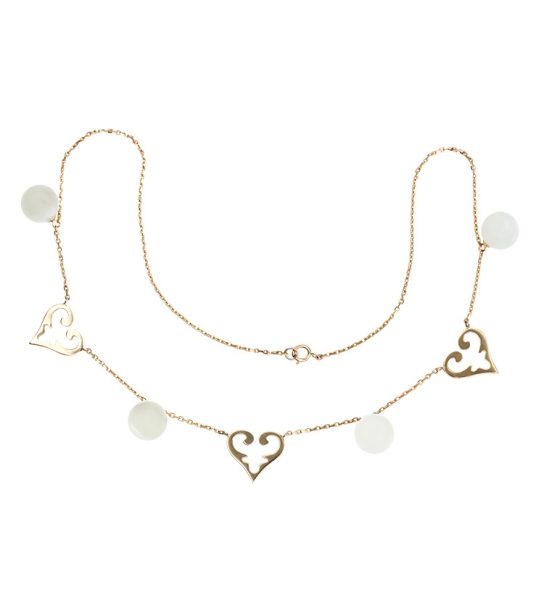 "Very feminine Collier with white moonstone of fine quality and medium size Signature Design ""Oriental Hearts""."