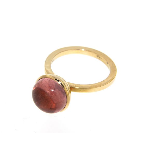 Handmade Ring with pink stone and gold