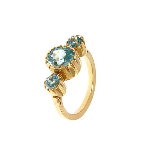 Handmade Ring with blue Zirkons and gold