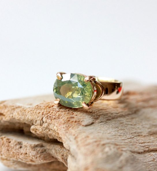 Handmade Ring with green stone and gold