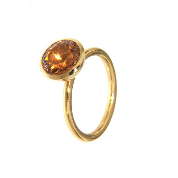 Handmade Ring with orange stone and gold